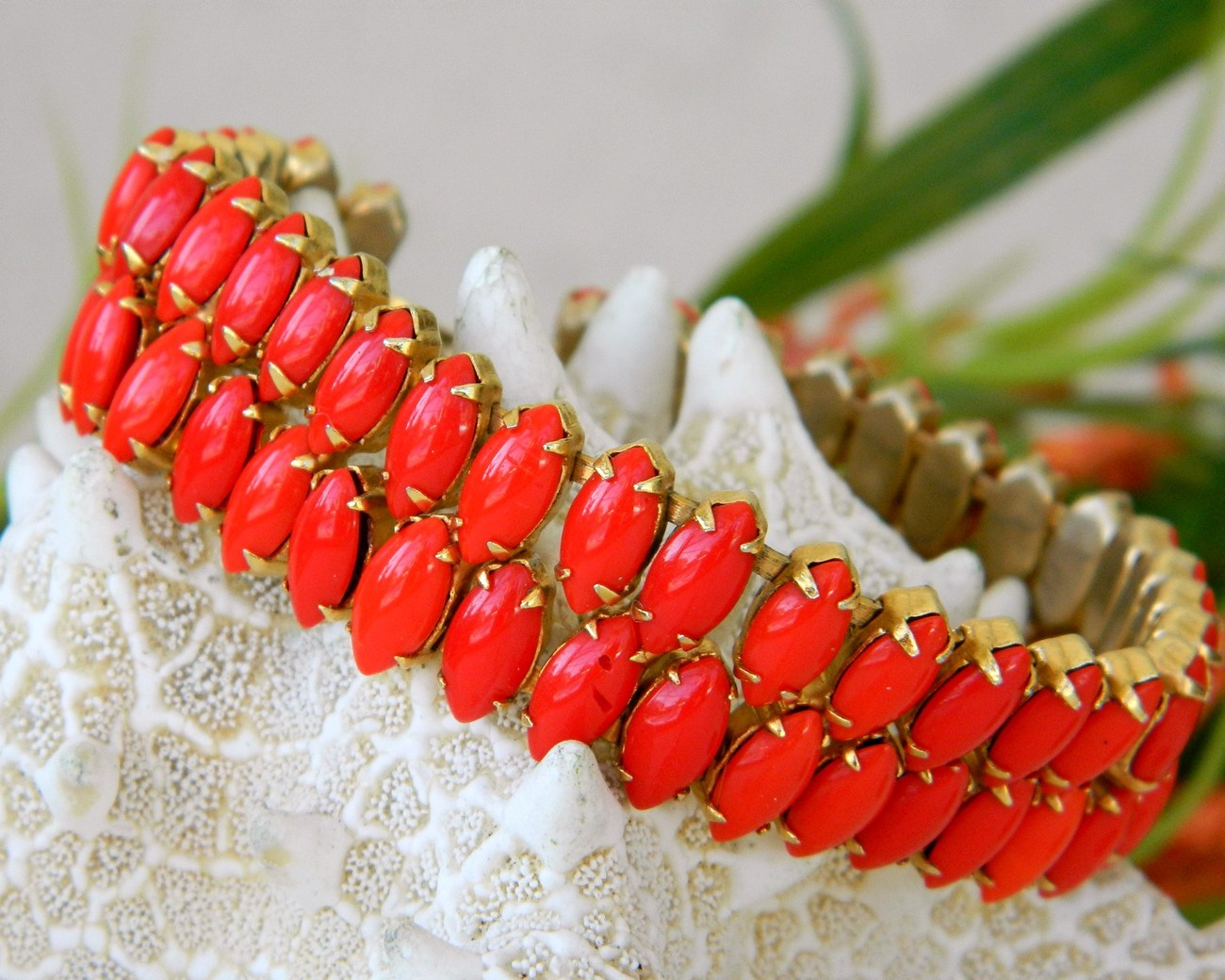 Primary image for Vintage Two Strand Bracelet Lipstick Red Glass Navettes Prong Set
