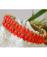 Vintage two strand lipstick red glass navette bracelet prong thumbtall