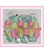 Mint Green Pink Hair Bow, Easter Hair Bow, Mint Green Yellow Blue Pink H... - $7.50
