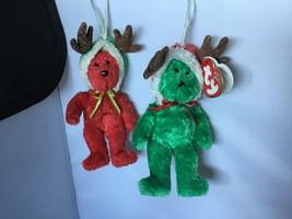 TY Beanie Jingle Beanies: 2002 Holiday Teddy bear red & green antlers Se... - $8.90