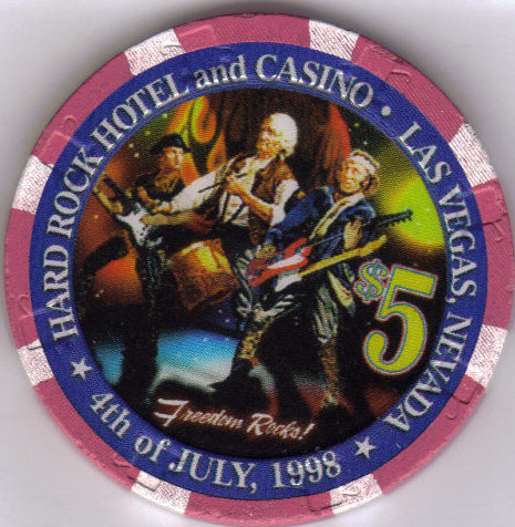 Primary image for $5 HARD ROCK HOTEL Las Vegas Casino Chip 4th of July 1998
