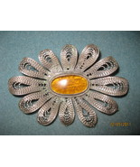 Vintage Silver Brooch with Amber center - $85.00
