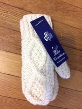Rita Condron Knitwear Ireland Knit Style Aran Cable Ivory Kids Mittens 8-12 - $332,53 MXN