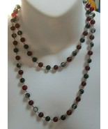 Vintage Black Foiled and Red/Ruby Color Glass Bead Necklace - $29.70