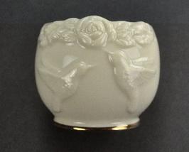Lenox Tealight Candle Holder Hummingbird Roses Gold Trim - $7.99