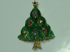 J.J. Christmas Tree Pin Brooch- Rhinestones Green Textured Gold Tone - $14.95