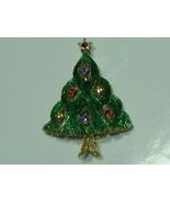 J.J. Christmas Tree Pin Brooch- Rhinestones Green Textured Gold Tone - $14.95
