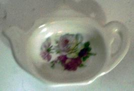 Vintage Shabby Chic Porcelain Tea Pot Shaped Spoon Rest // Tea Bag Holder - $6.00