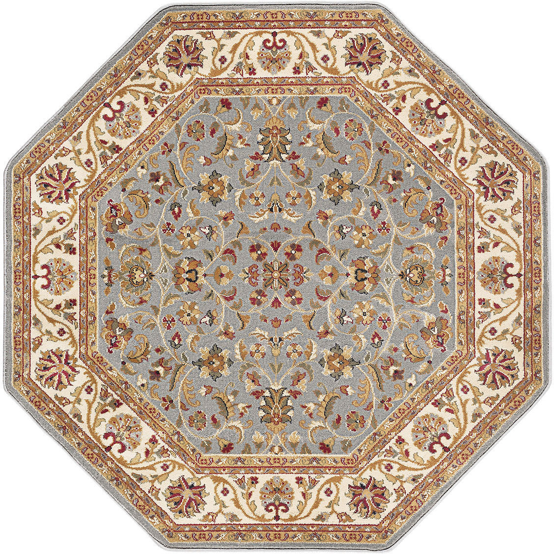Octagon Traditional Oriental Persian Blue Gray Area Rug **FREE SHIPPING**