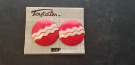 Vintage Temptation Brand Red With White Stripes Round Circle Design Earr... - $15.44