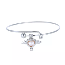 Cage Pendant Bangle Bracelets With With Oyster Pearl- 1 x Random design