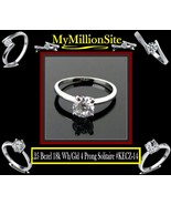 .25 Carat SOLITAIRE ENGAGEMENT RING 18K WHITE GOLD BEZEL 6 PRONG ABSOLUT... - $29.97
