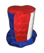USA RED WHITE AND BLUE STRIPS PLUSH mens or womens DRESSUP PARTY HAT fel... - $6.27