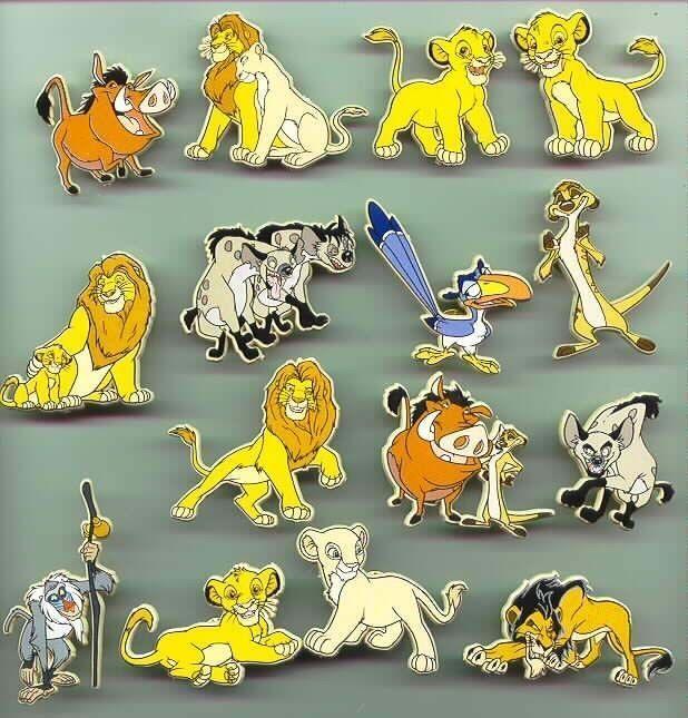 Lion King Full Body UK plastic Rare Disney pins Simba - Nala - Mufasa and more