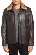 Fur Collar Men's Genuine Lambskin Leather Jacket Slim fit Biker  jacket-GL39