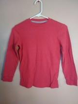 Boys Medium 8 Old Navy Red Long Sleeved Waffle Weave Crew Neck Shirt - $9.89