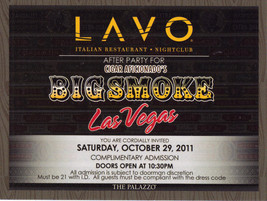 BIGSMOKE AFTER PARTY @ LAVO @ The Palazzo Vegas VIP Card (Expired) - $1.95