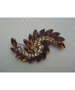 Amber and Yellow Rhinestone Swirl Brooch Pin or Pendant - $19.00
