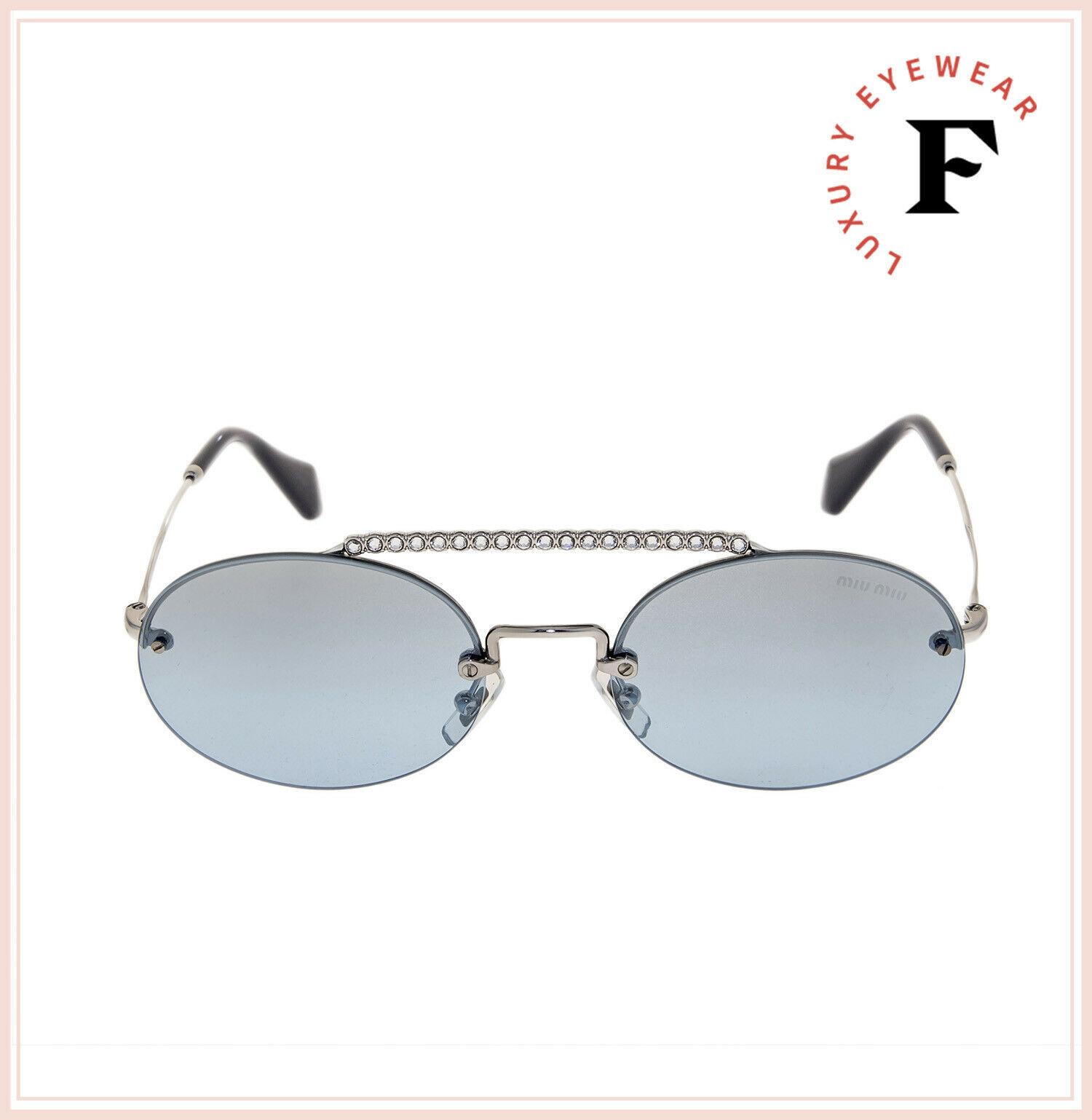 MIU MIU SOCIETE MU60TS CRYSTAL Blue Silver Oval Rimless Special Sunglasses 60T