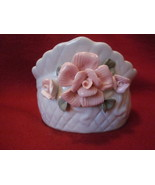 Porcelain Trinket Box with Pink Roses about 4 inches tall - $17.99