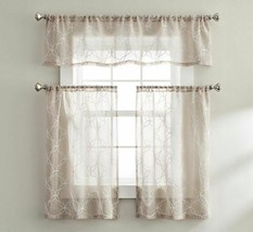 Better Homes And Gardens Quatrefoil Kitchen Tier Curtains and Valance Set, Beige - $19.99
