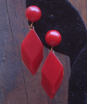 SALE! Vintage Crown Trifari Red Lucite Double Diamond Clip Dangle Earrings - $15.00