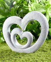 Double Heart Garden Sculpture Memorial Love Outdoor Home Decor Patio Law... - $52.50