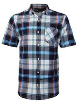 vkwear Men's Plaid Checkered Button Down Casual Short Sleeve Dress Shirt (Medium
