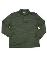 Haggar Mens Green Sz Large Striped Textured Long Sleeve Polo Shirt - $12.86