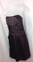 DAVIDS BRIDAL Size 10 Style Strapless Brown Knee Length Formal Dress wPo... - $34.95