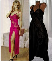 Black Criss Cross Lace Bodice High Slit Nightgown S L - $19.99