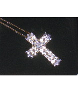 White Topaz Diamond 18K Gold Over 925 Sterling Silver 18 inch Cross Pendant NWT  - $89.99