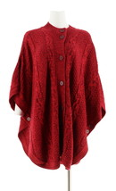 Denim & Co Stand Collar Button Front Cable Poncho Sweater Wine L NEW A28... - $30.67
