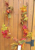 5' Fall Glitter Garland With Pumpkins Berries leaves - $25.25