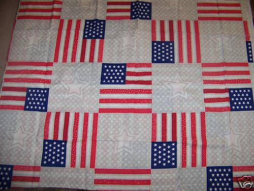 DAISY KINGDOM FAUX AMERICAN FLAG STAR QUILT FABRIC