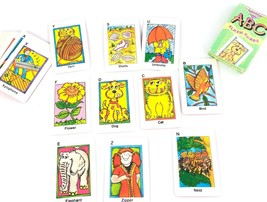 Vintage ABC Flash Cards Creative Child Games Cute Illustrated Cards Educ... - $16.57