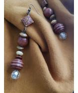 Wooden bead earrings - $30.00
