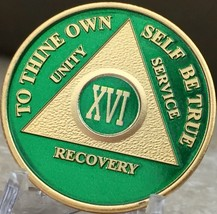 16 Year AA Medallion Green Gold Plated Alcoholics Anonymous Sobriety Chi... - $20.39
