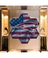 Patriots Wall Art Painting Canvas USA Flag Poster Print Decor 7 Hexagon ... - $94.99+