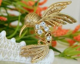 Vintage Hummingbird Pin Brooch Rhinestones Figural Bird Gold - $15.95