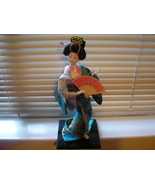 Geisha Doll on Stand 11 inches ornate Silk Brocade costume collectable - $42.00