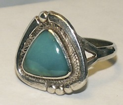 Sterling Silver Turquoise Southwestern Ring Sz 7-1/2
