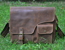 Mens Genuine Leather Cowhide Vintage Brown Sling Shoulder Messenger Bags... - $71.55