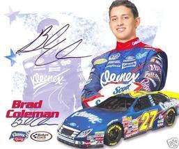 2008 BRAD COLEMAN #27 KLEENEX NASCAR POSTCARD SIGNED - $10.75