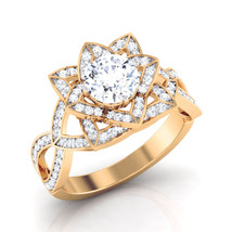 Solid 14k Yellow Gold Wedding Ring Promise Ring Gift For Mother Art Nouv... - $599.99