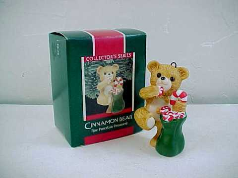 Hallmark Keepsake Cinnamon Bear Porcelain Christmas Ornament - 1989 - QX4615