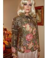 Coldwater Creek Autumn Fall Print Lined Zip Front Jacket Sz P 14 - €16,47 EUR