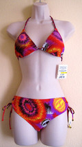 NWT SPLIT FASHION TRIANGLE RETRO SWIMWEAR BIKINI SWIMSUIT,SZ L,PRINT,RED... - $28.59