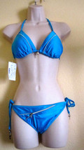 NWT SPLIT HIGH FASHION 2PC  ZIPPER SWIMWEAR BIKINI SWIMSUIT, SZ L,LIGHT ... - $26.56