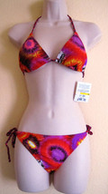 NWT SPLIT HIGH FASHION TRIANGLE SWIMWEAR BIKINI SWIMSUIT,SZ L,PRINT,RED,... - $28.59